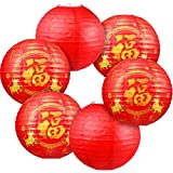 Chinese New Year Paper Lanterns Decorations, Red Celebration Paper Lantern Chinese Lucky Golden Fu Character Lantern Fortune Coins and Ox, Chinese Round Hanging Decorations for Chinese Spring Festival