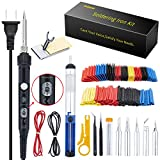 Ambberdr Safer Soldering Iron Kit Welding Tool, 60W Adjustable Temperature Soldering Iron with ON/OFF Switch, Soldering Iron Tips, Stand, Desoldering Pump, Wire Cutter, Solder Wick, Tweezers