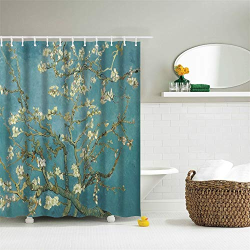 IcosaMro Van Gogh Shower Curtain for Bathroom with Hooks, Almond Blossom Flowers Decorative Long