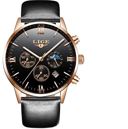 LIGE Herren Uhr Analog Quarz mit Leder Armband 9831