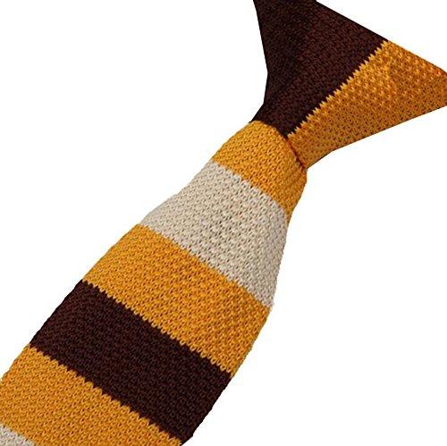 S.R HOME Cravate mince pour homme Rayure Marron Jaune Beige bout carré de 6cm