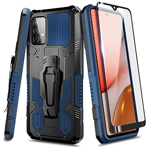 NZND Case for Samsung Galaxy A52 (4G/5G) with Tempered Glass Screen Protector (Full Coverage), Belt Clip, Built-in Kickstand, Dual Layer Full Body Shockproof Protective Rugged Defender Case (Blue)