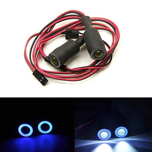 XUNJIAJIE 1 Stück 13mm Angel Eyes & Demon Eyes Scheinwerfer RC Autolicht for 1/10 RC Crawler (Blau + Weiß)