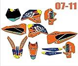 Etiqueta Motocicleta Adhesivos Kit gráfico for KTM 125 250 300 350 400 450 SXF SXF SX 2007-2010 EXC EXC-F 2008 2009 2012 2011 2010 (Color : As Shown)