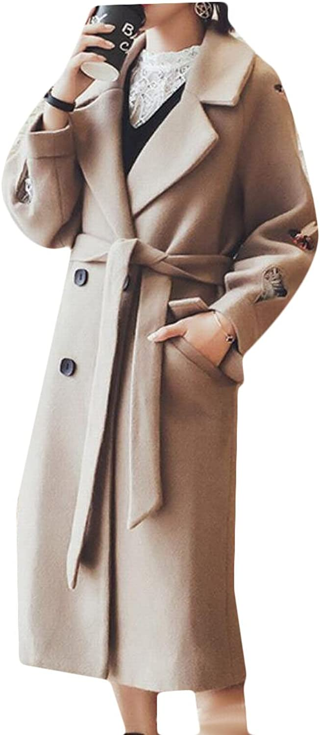 GAGA Women's Fashion Lapel Collar Woolen Parka Coat Overcoat