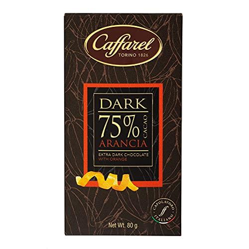 Caffarel Dark Tavoletta Cioccolato Extra Fondente 75% E, Arancia, 80 Grammo