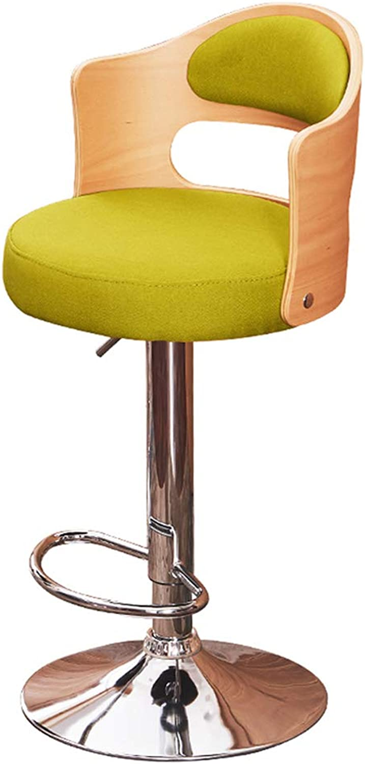 Barstools Bar Stool Stylish redating High Stool Cashier Seat Home Simple Backrest Chair Personalized Bar Bar Chair Can Be Raised and Lowered (color   Green)