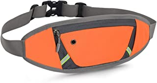 Sport Leisure Waterproof Lightweight Waist Pack, Men's and Women's Large Capacity Waist Bag with Headphone Jack Durable Outdoor Sports, Running, Hiking, Etc. (Color : Orange)