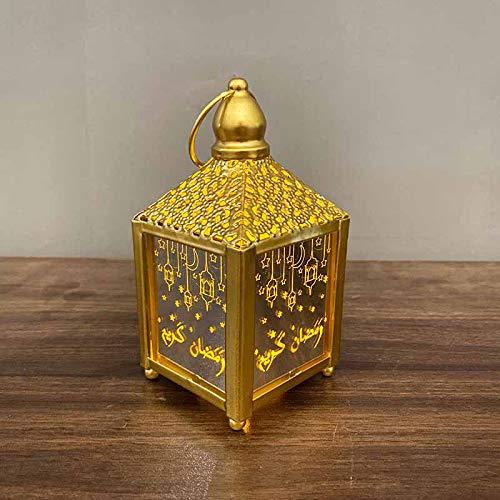 Ramadan Laterne LED Hängende Laternen Ramadan Dekoration Lichter Urlaub Beleuchtung Schmiedeeisen Nachtlicht (Gold, klein)