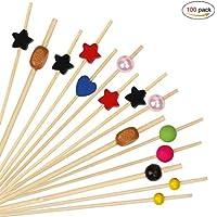 HONGXIN-SHOP Palillos de Cóctel Multicolor Brochetas de Bambú Palillo de Frutas para Cóctel Cumpleaños Fiesta y Boda Tarta Tapas Aperitivo Canapes Pincho Fruta Decoración 100 Piezas