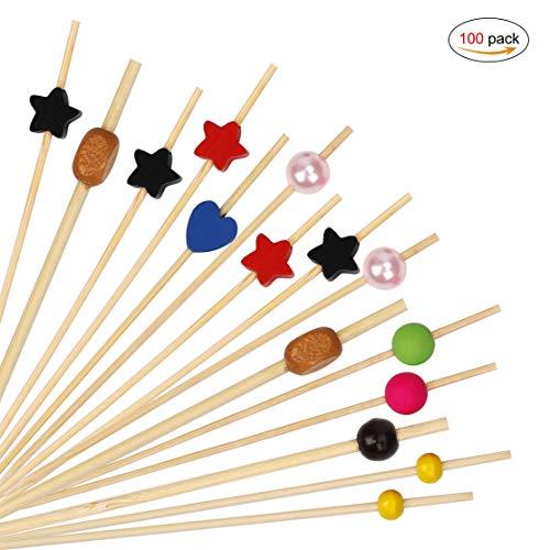 HONGXIN-SHOP Palillos de Cóctel Brochetas de Bambú Palillo de Frutas para Cóctel Cumpleaños Fiesta y Boda Tarta Tapas Aperitivo Canapes Pincho Fruta Decoración 100 Piezas