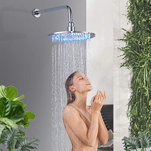 Rozin LED Chrom Runde Duschkopf Durchmesser 25cm 10 Zoll Temperatur Control 3 Farbwechsel Wasser Flow Powered Messing