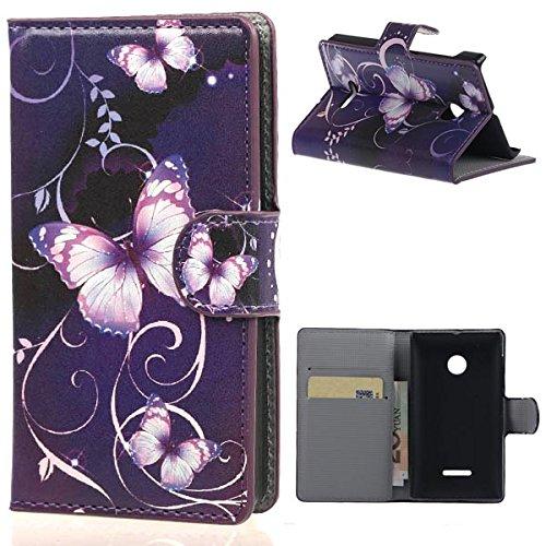 PU Leder Wallet Hülle Folio Schutzhülle für Nokia Microsoft Lumia 435 Tasche Hülle Handytasche Etui Schale Backcover Flip Cover im Bookstyle mit Standfunktion Kredit Kartenfächer (W03#)