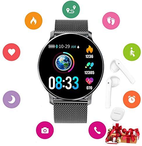 Smartwatch, für Damen, Herren, Kinder, wasserdicht, Herzfrequenzmessgerät + Sport-Kopfhörer, kabellos, Bluetooth, Kopfhörer 5.0 kabellos im Ohr