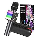 Karaoke Mikrofon, GLIME 5-in-1 Bluetooth Karaoke Mikrofon mit Tanzen LED Lichter, KTV Mikrophon mit Musik Lautsprecher für Erwachsene, Karaoke Mikrofon Kinder Kompatibel Android/IOS/PC(Schwarz)
