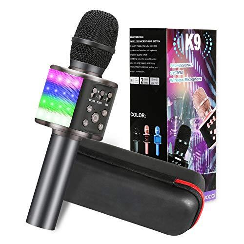 Karaoke Mikrofon, GLIME 5-in-1 Bluetooth Karaoke Mikrofon mit Tanzen LED Lichter, KTV Mikrophon mit Musik...