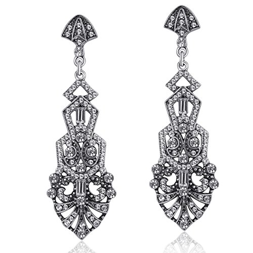 ArtiDeco 1920s Vintage Rhinestone Earrings Flapper Accesories Gatsby Costume