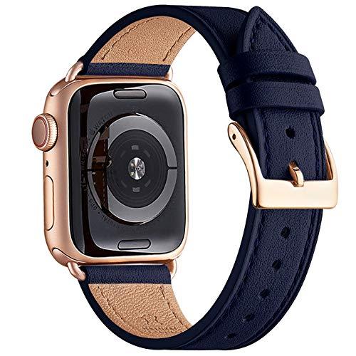 QAZNZ Correas de cuero para Apple Watch 40 mm 38 mm 44 mm 42 mm, Hombres Mujeres Reemplazo de correa para iWatch Series 6 5 4 3 2 1 & SE (38mm 40mm, Azul oscuro/Oro rosa)
