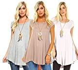 Isaac Liev Women's Tunic Top – 3 Pack Casual Short Sleeve Scoop Neck Soft Flowy Swing Summer Blouse T Shirts Made in USA Pack1 M