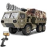 le-idea 1/12 Camión Militar RC, 6WD 2.4GHz Juguete de Coche Militar de Proporción Completa con Cámara 480P HD FPV, con 2 Baterías Recargables para 60 Minutos de Juego, Regalos para Niños Y Niñas