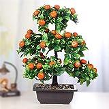 BHBXZZDB Planta Artificial Bonsai Maceta de plástico Naranja + Árbol frutal en Maceta pequeño, Utilizado para Sala de Estar Familiar, floristería, decoración de Banquete de Boda de Hotel (Color: Gran