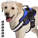 Adjustable Dog Harness, No Pull Dog Harness Outdoor Vest with Easy Control Handle, Hook and Front Reflective Straps - No More Pulling, Tugging or Choking for Small Medium Large Dogs