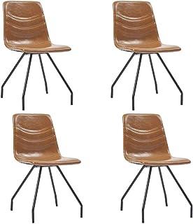 Festnight Sillas de Comedor 4 Unidades Sillas de Cocina Salon Cuero Sintético Marrón Coñac 45,5 x 53 x 87 cm
