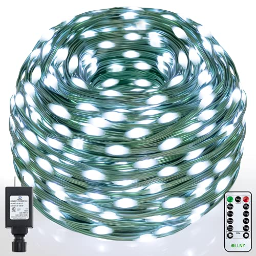Ollny Christmas String Lights 330ft 800 Led Super Long with Remote IP67 Waterproof Outdoor Cool White 8 Twinkle Lighting Timer Modes Plug in for Outdoor Indoor Halloween Decorations