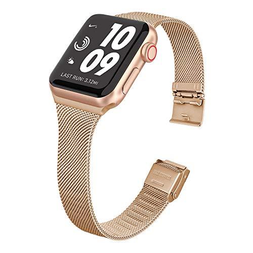WAIYI Correa Metal Compatible con Apple Watch 38mm 40mm 42mm 44mm,Pulsera de Repuesto Hebilla Ajustable Correa Fina de Acero Inoxidable para iWatch Series SE 6 5 4 3 2 1(42mm/44mm, Oro Rosa)