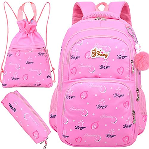 UKKD Mochila para niños Bolsa De Mochila Ortopédica Escuela Back Pack Niños Bolsa De Viaje Niños Bolsos De La Escuela Para Niños Mochilas De La Escuela Para Niños-Pink