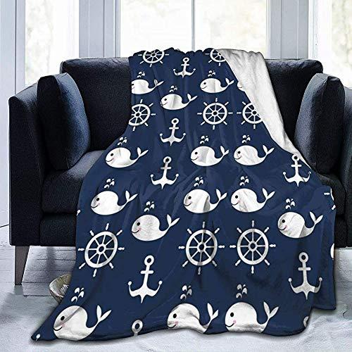 Ancla con ballenas Manta de forro polar con diseño azul sin costuras Franela Ultra suave Microfibra Ligeight Edredón de aire acondicionado de lujo L 40 x 50 pulgadas Manta de tiro Manta de felpa