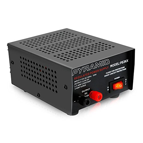 Universal Compact Bench Power Supply - 2.5 Amp Linear Regulated Home Lab Benchtop AC-to-DC 12V Converter w/ 13.8 Volt DC 115V AC 50 Watt Power Input, Screw Type Terminals, Cooling Fan - Pyramid PS3KX