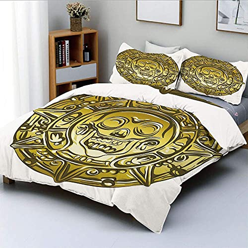 3D Printed Duvet Cover Set Duvet Cover Set for Gold and silver pirate coin medal afraid of skull and crossbones old antique coin BeddingKing(220x240 cm), 3 piece set 1 piece quilt cover + 2 piec