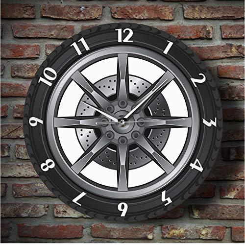 ZYZYY 12 inches Auto Service Reparatie Garage Eigenaar Bandenwiel Aangepaste Auto Wandklok Horloge Vintage Cool Mechanisch Geschenk Ideaal Voor Auto Workshop