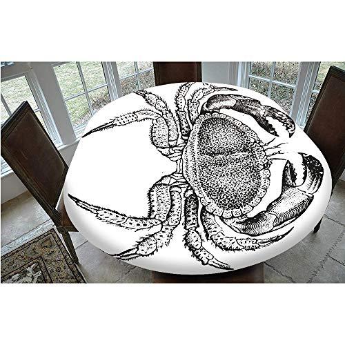 Cubierta de mesa elástica resistente a las manchas, diseño de mariscos, diseño vintage grabado de un mantel comestible, se adapta a mesas ovaladas de 48 x 172 cm, para decoración de mesa B