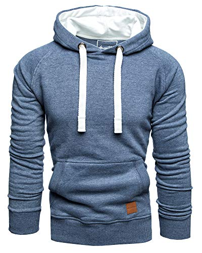 Amaci&Sons Herren Basic Kontrast Kapuzenpullover Sweatjacke Pullover Hoodie Sweatshirt 1-04027 Blau L
