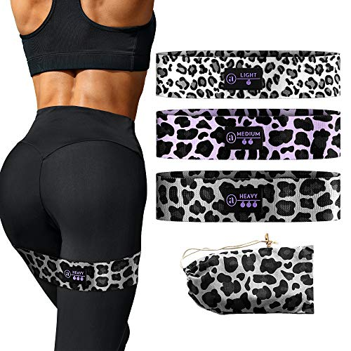 Fabric Resistance Bands for Legs and Butt - Booty Bands 3 Resistance Bands - Exercise Bands for Legs and Butt - Squat Bands to Tone - Elastic Strength Non Slip Workout Bands for Beginner to Expert