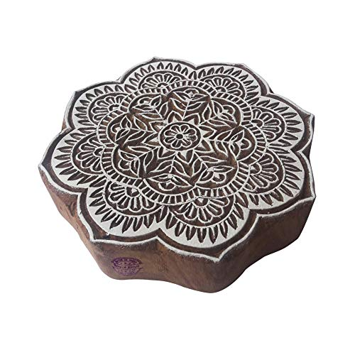 8 Inch Traditionell Holzblöcke Groß Runden Blumen Entwürfe Großer Drucken Stempel