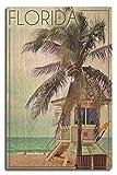 Lantern Press Florida - Lifeguard Shack and Palm (10x15 Wood Wall Sign, Wall Decor Ready to Hang)