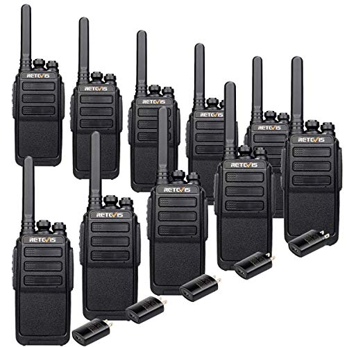Retevis RT28 Walkie Talkies Rechargeable,Small Two Way Radio,Local Alarm VOX Hands Free,Handheld 2 Way Radio with USB Charger,for Business Hotel School Restaurant(10 Pack)