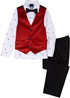 Boys' 4-Piece Vest Set with Dress Shirt, Bow Tie, Pants, and Vest