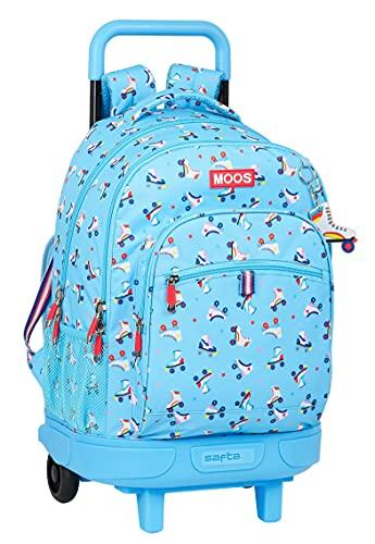 Safta Mochila Escolar con Carro Incluido y Espalda Acolchada de Moos Rollers, 330x220x450 mm, Azul Claro/Multicolor