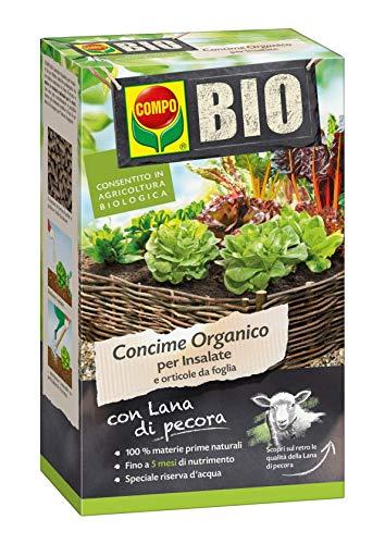 COMPO BIO Concime Organico per Insalate e Orticole da Foglia, Con Lana di Pecora, Consentito in agricoltura biologica, 750 g