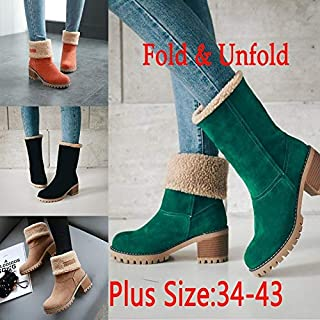 Winter Woman Fur Warm Square High Heels Snow Fashion Ankle Boots Suede Shoes Orange Black Green Boots(Orange,8)