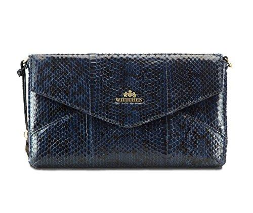 WITTCHEN Klassische Tasche | 16x28cm, Narbenleder | Passend für A4 Größe: Nein | Blaue Marine, Kollektion: Snake | 19-4-557-N