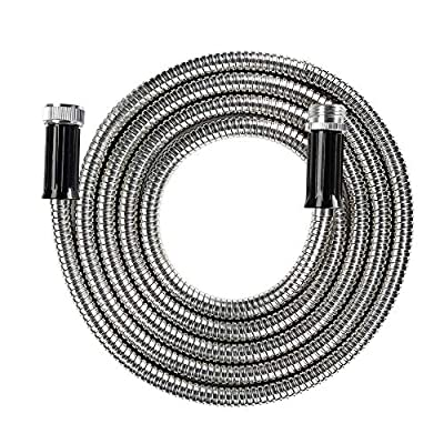 """BEAULIFE Short Metal Stainless Steel Garden Hose 15 Feet Drinking Rv Water Hose Dehumidifier Drain Hose Connector Extension Attachments 3/4"""" Hose Bib Faucet Reel Extender for Outdoor"""