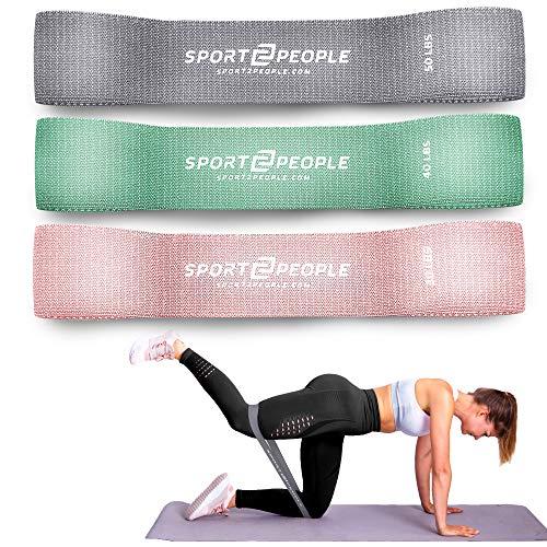 sport2people Resistance Bands - Fitnessbänder Set in 3 Zugkraftstärken, Cotton Booty Gymnastik Band Unterstützung für Pilates, Kraftrainingund Klimmzüge