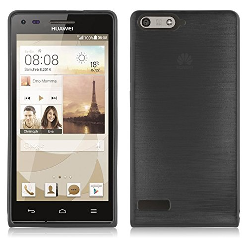 Cadorabo Hülle für Huawei P7 Mini - Hülle in SCHWARZ – Handyhülle aus TPU Silikon in gebürsteter Edelstahloptik (Brushed) Silikonhülle Schutzhülle Soft Back Cover Case Bumper