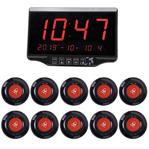 Wireless Calling System Restaurant Pager Customers Patient Caregiver Alert Paging System for Clinic Hospital Church Office Cafe Shop Smart Nurse Call Button 1 Display Receiver and 10 Call Button