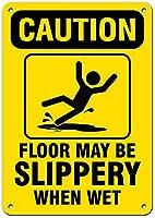 安全標識-注意床は濡れると滑りやすくなることがあります。 金属スズサインUV保護および耐候性、通知警告サイン